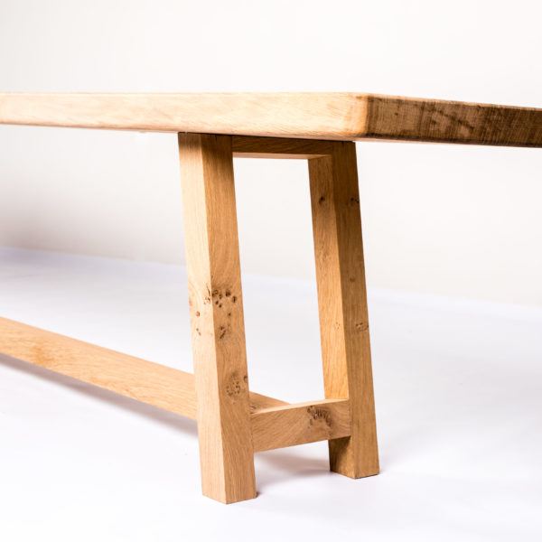 Oak dining table bench