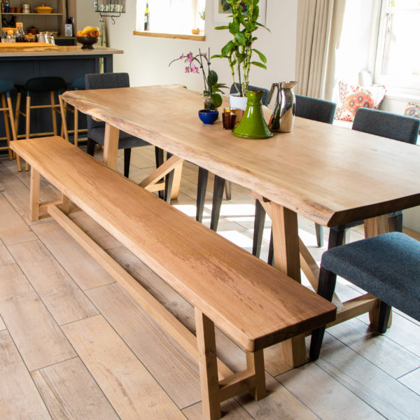 wooden bench for a dining table